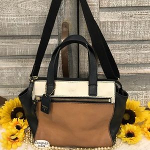 FOSSIL Color Block Leather Crossbody Fair Cond